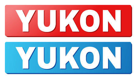 YUKON text on rounded rectangle buttons. Designed with white title with shadow and blue and red button colors.