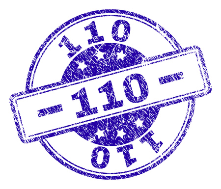 110 stamp seal watermark with distress texture. Designed with rounded rectangles and circles. Blue vector rubber print of 110 label with dirty texture.