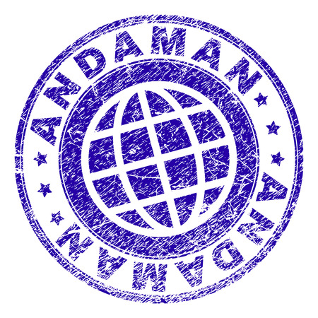 ANDAMAN stamp imprint with distress effect. Blue vector rubber seal imprint of ANDAMAN tag with retro texture. Seal has words placed by circle and planet symbol. Иллюстрация