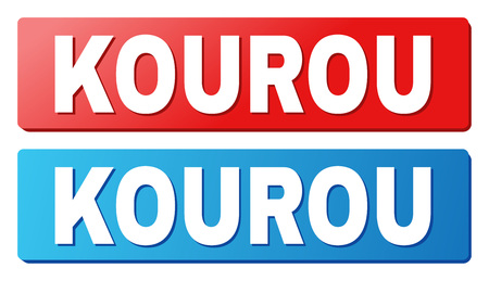 KOUROU text on rounded rectangle buttons. Designed with white caption with shadow and blue and red button colors. Çizim