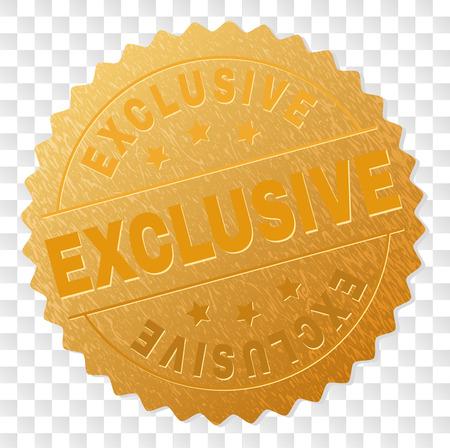 Ricompensa timbro d'oro ESCLUSIVO. Premio d'oro di vettore del testo ESCLUSIVO. Le etichette di testo vengono posizionate tra linee parallele e su un cerchio. La pelle dorata ha una struttura metallica.