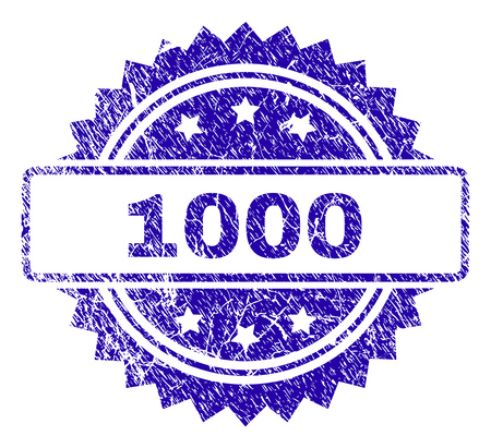 1000 stamp watermark with grunge style. Blue vector rubber seal print of 1000 label with grunge texture.