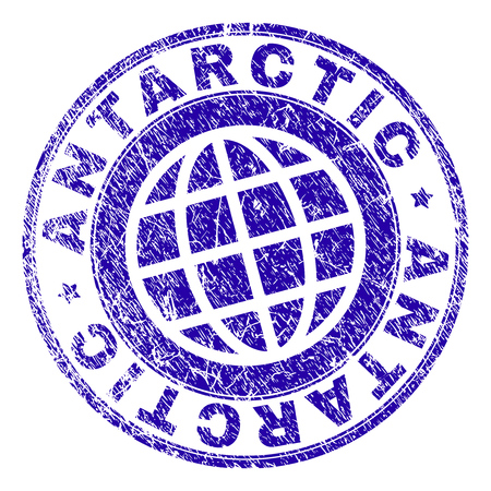 ANTARCTIC stamp print with grunge style. Blue vector rubber seal print of ANTARCTIC label with scratched texture. Seal has words arranged by circle and planet symbol. Illustration