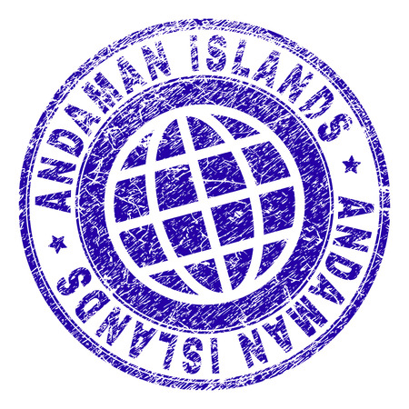 ANDAMAN ISLANDS stamp imprint with distress texture. Blue vector rubber seal imprint of ANDAMAN ISLANDS tag with dirty texture. Seal has words placed by circle and planet symbol.