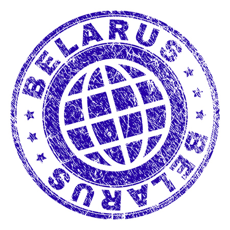 BELARUS stamp watermark with grunge texture. Blue vector rubber seal imprint of BELARUS title with grunge texture. Seal has words placed by circle and planet symbol. Vectores