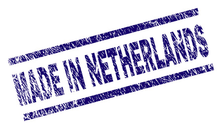 MADE IN NETHERLANDS stamp seal watermark with scratced style. Blue vector rubber print of MADE IN NETHERLANDS label with retro texture. Text label is placed between parallel lines. Illustration