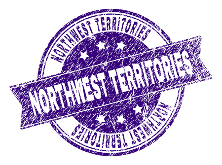 NORTHWEST TERRITORIES stamp seal watermark with distress texture. Designed with ribbon and circles. Violet vector rubber print of NORTHWEST TERRITORIES text with dirty texture.