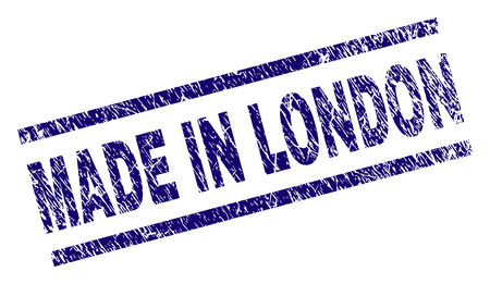 MADE IN LONDON stamp seal watermark with distress style. Blue vector rubber print of MADE IN LONDON text with corroded texture. Text label is placed between parallel lines.