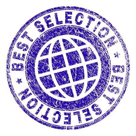 Najlepszy wybór pieczęci z teksturą grunge. Niebieska gumowa pieczęć wektorowa z nadrukiem tekstu BEST SELECTION z teksturą porysowaną. Pieczęć ma słowa umieszczone obok symbolu koła i planety. Ilustracje wektorowe