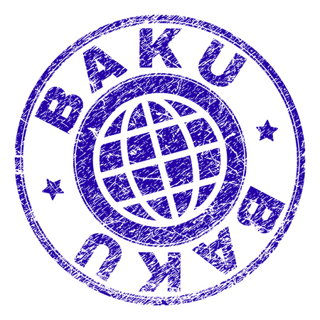 BAKU stamp print with grunge texture. Blue vector rubber seal imprint of BAKU label with grunge texture. Seal has words arranged by circle and planet symbol.