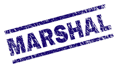 MARSHAL stamp seal watermark with scratced style. Blue vector rubber print of MARSHAL text with corroded texture. Text title is placed between parallel lines.