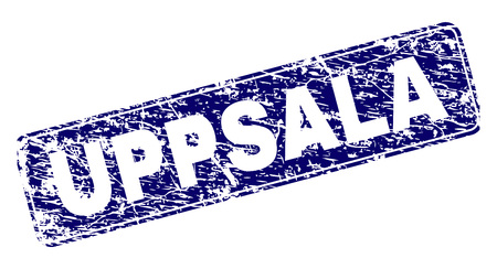 UPPSALA stamp seal print with distress style. Seal shape is a rounded rectangle with frame. Blue vector rubber print of UPPSALA label with scratched style. Illustration