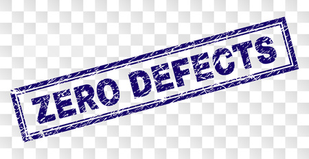 ZERO DEFECTS stamp seal print with grainy style and double framed rectangle shape. Stamp is placed on a transparent background. Blue vector rubber print of ZERO DEFECTS tag with scratched texture.
