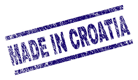 MADE IN CROATIA stamp seal watermark with scratced style. Blue vector rubber print of MADE IN CROATIA caption with dirty texture. Text caption is placed between parallel lines. Illustration