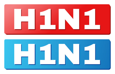 H1N1 text on rounded rectangle buttons. Designed with white caption with shadow and blue and red button colors.