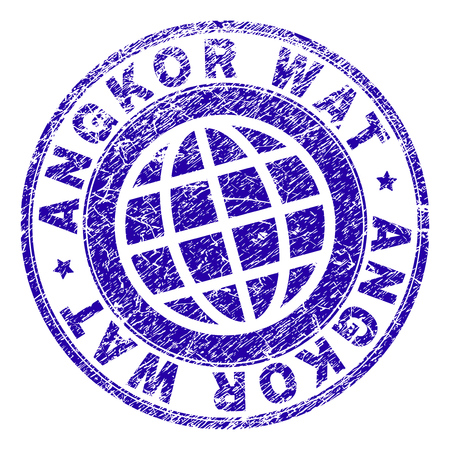 ANGKOR WAT stamp watermark with grunge texture. Blue vector rubber seal imprint of ANGKOR WAT tag with dirty texture. Seal has words arranged by circle and planet symbol.