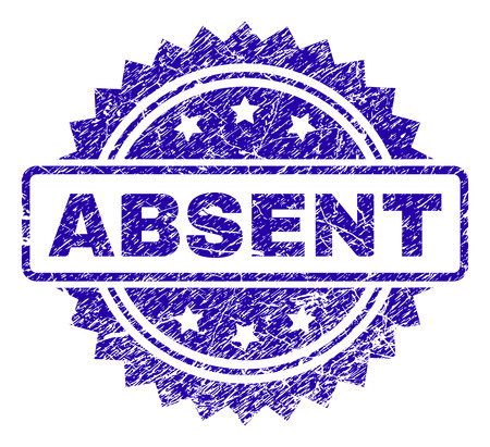ABSENT stamp imprint with dirty style. Blue vector rubber seal print of ABSENT caption with dirty texture. 向量圖像
