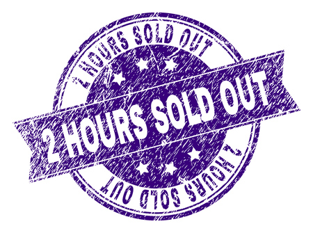 2 HOURS SOLD OUT stamp seal watermark with grunge texture. Designed with ribbon and circles. Violet vector rubber print of 2 HOURS SOLD OUT title with dirty texture.