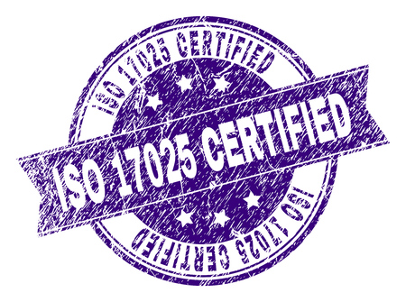 ISO 17025 CERTIFIED stamp seal imprint with grunge texture. Designed with ribbon and circles. Violet vector rubber print of ISO 17025 CERTIFIED caption with grunge texture.
