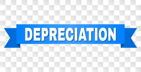 DEPRECIATION text on a ribbon. Designed with white title and blue stripe. Vector banner with DEPRECIATION tag on a transparent background. Vectores