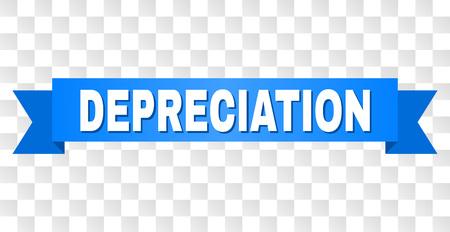 Texto de DEPRECIACIÓN en una cinta. Diseñado con título blanco y franja azul. Banner de vector con etiqueta DEPRECIACIÓN sobre un fondo transparente.