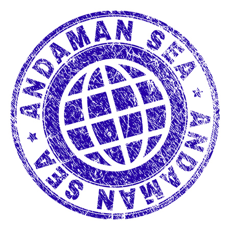 ANDAMAN SEA stamp imprint with distress texture. Blue vector rubber seal imprint of ANDAMAN SEA label with unclean texture. Seal has words arranged by circle and globe symbol.