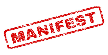 MANIFEST stamp seal print with scratced style. Red vector rubber print of MANIFEST text with dust texture. Text tag is placed inside rounded rectangle frame. Archivio Fotografico - 105896050