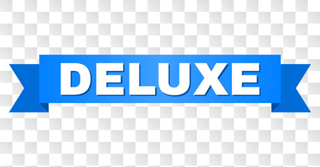 DELUXE text on a ribbon. Designed with white title and blue stripe. Vector banner with DELUXE tag on a transparent background. Standard-Bild - 105896065