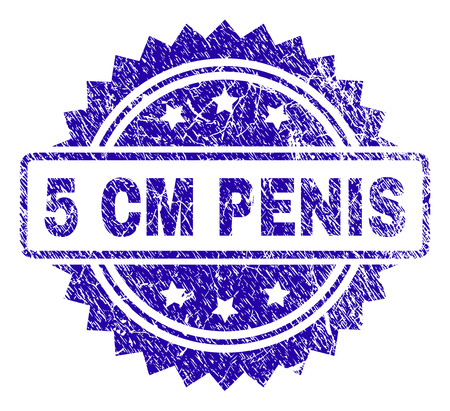5 CM PENIS stamp imprint with corroded style. Blue vector rubber seal print of 5 CM PENIS text with corroded texture. Ilustrace