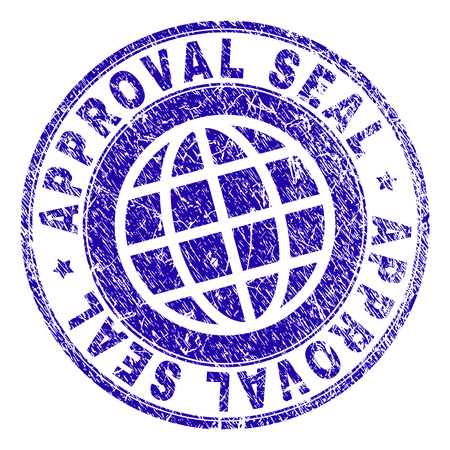 APPROVAL SEAL stamp print with grunge texture. Blue vector rubber seal print of APPROVAL SEAL caption with corroded texture. Seal has words placed by circle and planet symbol. Illustration