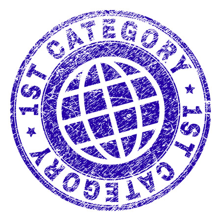 1ST CATEGORY stamp print with distress texture. Blue vector rubber seal print of 1ST CATEGORY tag with retro texture. Seal has words arranged by circle and planet symbol. Иллюстрация