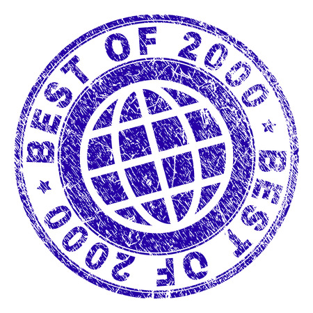BEST OF 2000 stamp imprint with grunge texture. Blue vector rubber seal imprint of BEST OF 2000 label with scratched texture. Seal has words arranged by circle and planet symbol.