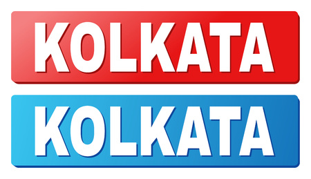 KOLKATA text on rounded rectangle buttons. Designed with white title with shadow and blue and red button colors. Illustration