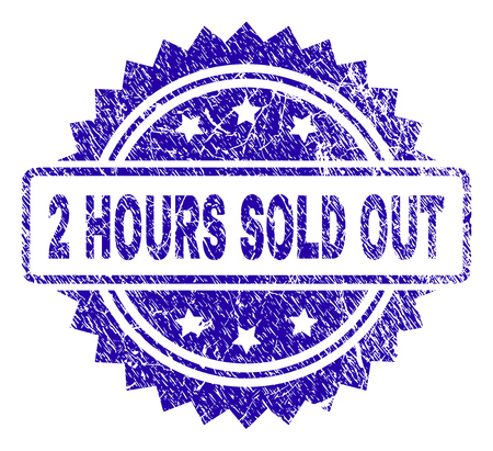 2 HOURS SOLD OUT stamp watermark with corroded style. Blue vector rubber seal print of 2 HOURS SOLD OUT label with grunge texture.