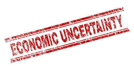 ECONOMIC UNCERTAINTY seal print with corroded texture. Red vector rubber print of ECONOMIC UNCERTAINTY text with dust texture. Text caption is placed between double parallel lines.