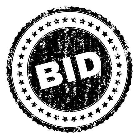 BID seal watermark with corroded texture. Black vector rubber print of BID caption with corroded texture. Rubber seal imitation has round shape and contains stars.