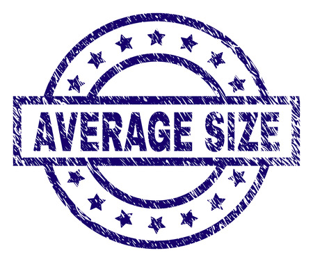 AVERAGE SIZE seal print with dirty texture. Designed with rectangle, circles and stars. Blue vector rubber print of AVERAGE SIZE tag with dirty texture.