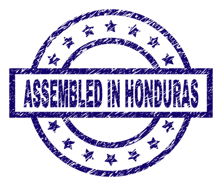 ASSEMBLED IN HONDURAS seal print with distress style. Designed with rectangle, circles and stars. Blue vector rubber print of ASSEMBLED IN HONDURAS tag with unclean texture.