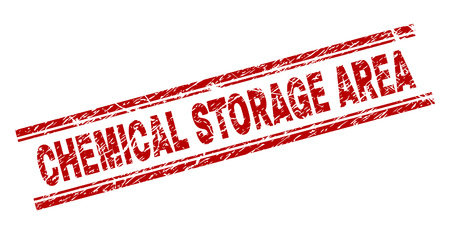 CHEMICAL STORAGE AREA seal print with distress effect. Red vector rubber print of CHEMICAL STORAGE AREA text with grunge texture. Text caption is placed between double parallel lines.