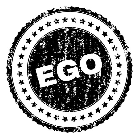 EGO seal print with corroded texture. Black vector rubber print of EGO label with corroded texture. Rubber seal imitation has round shape and contains stars.