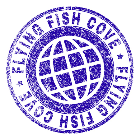 FLYING FISH COVE stamp imprint with distress texture. Blue vector rubber seal imprint of FLYING FISH COVE caption with retro texture. Seal has words placed by circle and globe symbol.