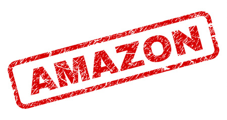 AMAZON stamp seal print with grunge style. Red vector rubber print of AMAZON title with grunge texture. Text label is placed inside rounded rectangle frame.