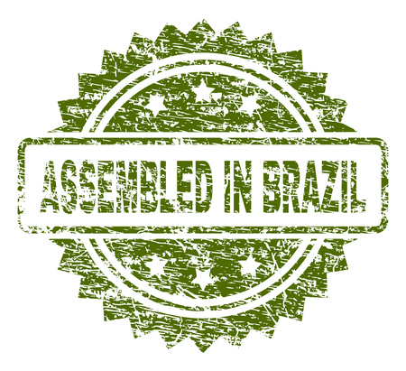 ASSEMBLED IN BRAZIL stamp seal watermark with rubber print style. Green vector rubber print of ASSEMBLED IN BRAZIL title with grunge texture.