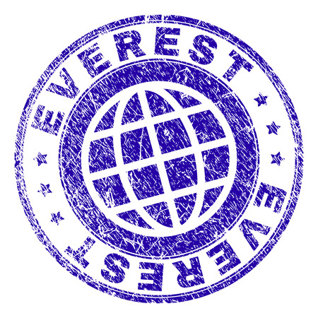 EVEREST stamp print with grunge texture. Blue vector rubber seal print of EVEREST label with grunge texture. Seal has words placed by circle and globe symbol.