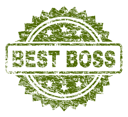 BEST BOSS stamp seal watermark with rubber print style. Green vector rubber print of BEST BOSS title with dust texture.