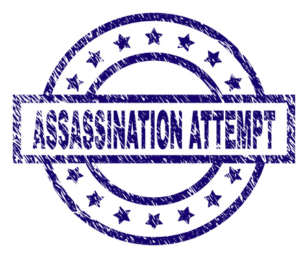 ASSASSINATION ATTEMPT seal stamp with dirty texture. Designed with rectangle, circles and stars. Blue vector rubber print of ASSASSINATION ATTEMPT label with dirty texture.