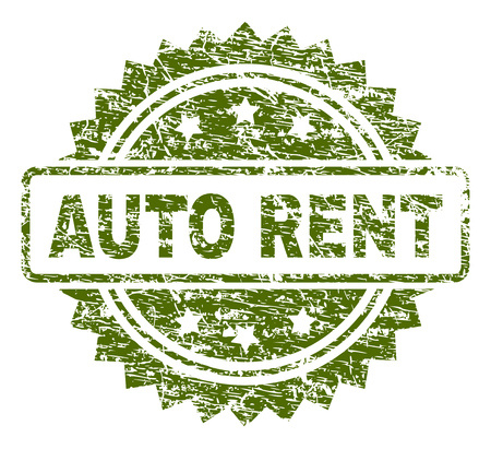 AUTO RENT stamp seal watermark with rubber print style. Green vector rubber print of AUTO RENT tag with dust texture.