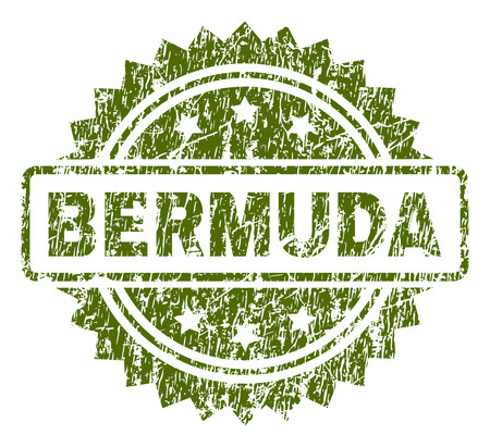 BERMUDA stamp seal watermark with rubber print style. Green vector rubber print of BERMUDA caption with corroded texture. Ilustração