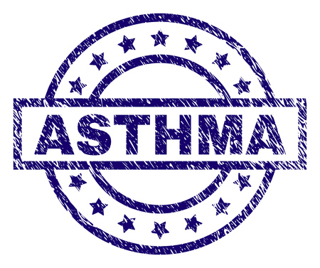 ASTHMA seal stamp with distress texture. Designed with rectangle, circles and stars. Blue vector rubber print of ASTHMA caption with unclean texture.