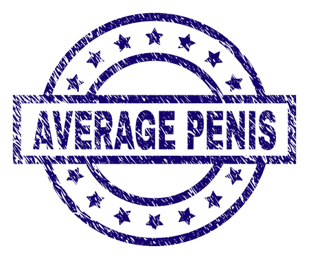 AVERAGE PENIS seal print with distress texture. Designed with rectangle, circles and stars. Blue vector rubber print of AVERAGE PENIS tag with dust texture.